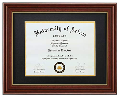CORE ART Diploma Frames 8.5x11 with Black Mat or 11x14 Without Mat, Brown Frame for Diploma, Document, Certificate, College Degree and More, Solid Wood Degree Frame, Semi-Tempered Glass