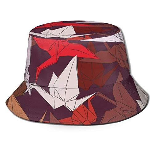 XCNGG Sombrero de Pescador Unisex para Adultos Grullas de Papel de Origami Sombrero de Cubo Colorido, Gorra de Sol Plegable, máxima protección para los Rayos UVA, Pesca, jardinería,