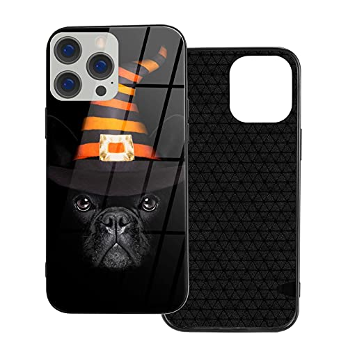 Halloween French Bulldog Ip12 Pro-6.1 for iPhone 12 Glass Case Shockproof Design,TPU Bumper with Protective Hard Case Cover