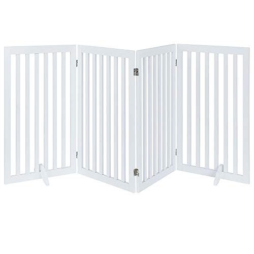 unipaws Freestanding Wooden Dog Gate, Foldable Pet Gate with 2Pcs Support Feet Dog Barrier Indoor Pet Gate Panels for Stairs, White (4 Panels, 20 inches Wide, 36 inches High)