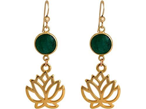 Gemshine YOGA Ohrringe Lotus Blumen Ohrhänger mit grünen Smaragden in Silber, vergoldet oder rose. Nachhaltiger, Fair Trade, qualitätsvoller Schmuck Made in Spain, Metall Farbe:Silber vergoldet
