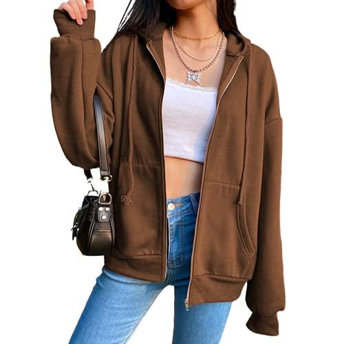 Geagodelia Veste à Capuche Femme Hoodie Sweat de Sport Oversize Vintage Zippé Blouson Couleur Solide Cardigan Pullover Outwear Y2K E-Girl Survêtement Jacket Printemps Automne (Brun, M)
