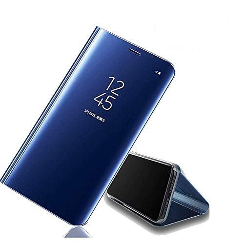 Avzax® Premium Semi Transparent Mirror Flip S-View Smart Case Cover with Kickstand Compatible with Samsung Galaxy Grand Prime SM-G530H (Blue)