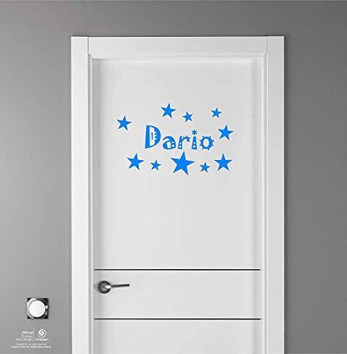 Artstickers Adhesivo Infantil para decoración de Muebles, Puertas, Paredes.Nombre: Dario, en Color Azul Nombre de 20cm + Kit de 10 Estrellas para Libre colocación.