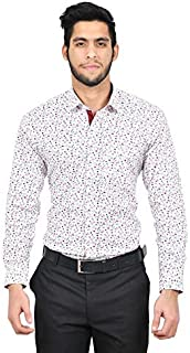 The Mods Men's Formal White Color Printed Shirt