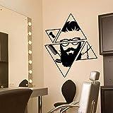 wopiaol Calcomanía de Pared Creativa geométrica Peluquería Peluquería Barba Hipster Salón Decoración Interior Pegatinas de Vinilo Herramientas de Corte de Pelo Mural