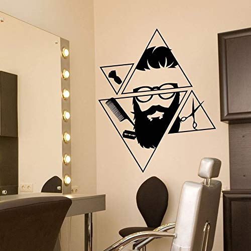 wopiaol Geometrische creatieve muur Decal kapper winkel kapper baard Hipster Salon interieur Decor Vinyl Stickers kapsel gereedschap muurschildering