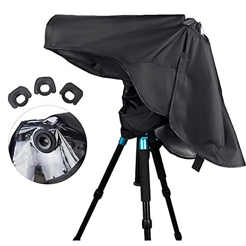 JJC カメラレインカバー Canon EOS Nikon D シリーズ カマラ用 キャノン EOS 5D Mark IV III 5DS R 7D Mark II 1D X Mark III II 1Ds Mark III 1D Mark IV III 9000D 8000D Kiss X10i X9i X10 X9 X8i X7i X7 X6i X5 X4 X3 X2 90D 80D 77D 70D ニコン D750 D600 D610 D7200 D7100 D7000 D5600 D5500 D5300 D5200 D5100 D5000 D3500 D3400 D3300 D3100 D3000 D300 D300s D90 D80 D70s D70 D60 D50 D40 など適用 三つ アイカップ付き Nikon DK-20 DK-21 DK-23 DK-25 & Canon EG & EF アイピース 交換可能 レインコート 防水 防塵 レインジャケット
