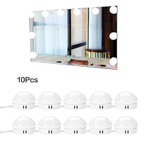 Spiegelleuchte LED Schminklicht Badlampe Schminkleuchte 5W mit 10 Birnen Dimmbar für Kosmetikspiegel Schminkspiegel Badzimmer Spiegellampe Make up Licht Schmink Lampe