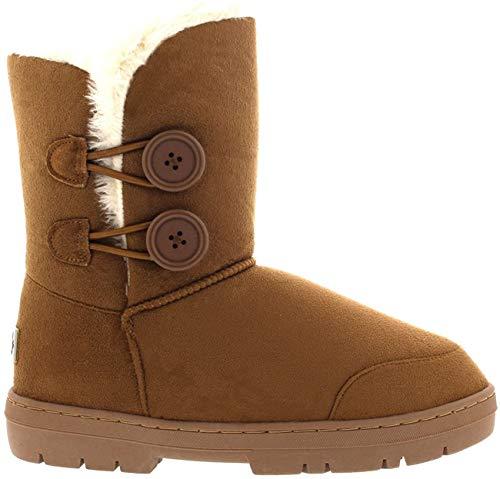 Botas de invierno con doble botón, impermeables, para mujer, color Beige, talla 35.5