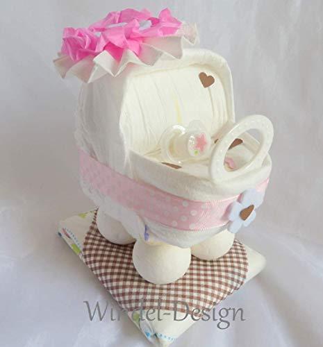 Windeltorte für Mädchen rosa braun Windelwagen, Geschenk, Babyparty, Geburt oder Taufe, auf Wunsch mit Grußkärtchen