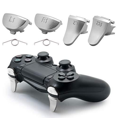 TOMSIN Metallauslöser für PS4 Slim / PS4 Pro Controller, Aluminium Metall L1 R1 L2 R2 Trigger Buttons für PS4 Controller Gen 2 (Silber)