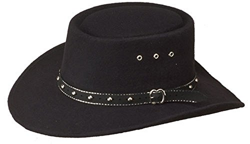Western Faux Felt Gambler Cowboy Hat -Black L/XL (Elastic Band)