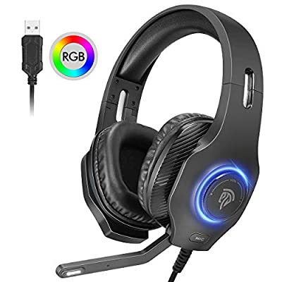 EasySMX USB Gaming Headset,7.1 Virtual Surround Sound PC Gaming Headphone with Mic, Over-Ear Noise Isolation, LED Lighting, Volume Control, for PC Gamers (7.1 Surround Sound Headset)