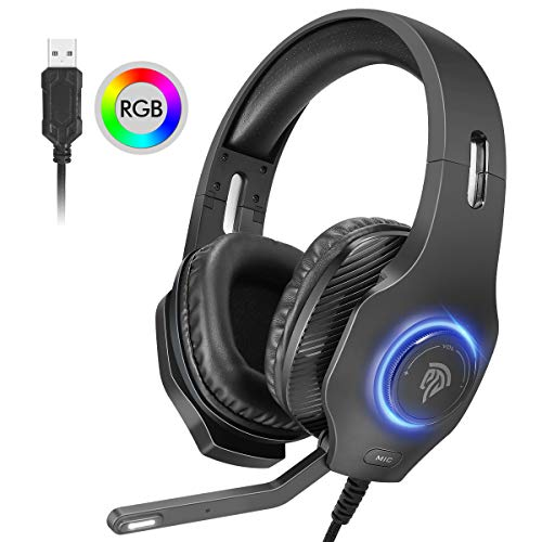 USB Gaming Headset, EasySMX PC Headset, 7.1 Surround Sound Stereo Gaming Kopfhörer für PS4, PC Games, Over-Ear Gamer Headphones mit Mikrofon