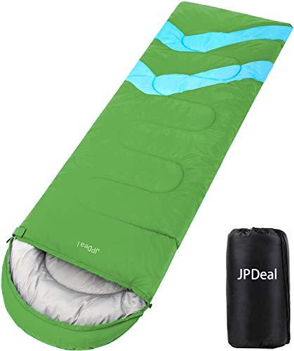 JPDeal 寝袋,シュラフ 封筒型 軽量 保温 寝袋 コンパクト収納 アウトドア 登山 車中泊 防災用 災害時 避難用 丸洗い 快適温度-5度-25度 950g 1.4kg 1.8kg 寝袋 オールシーズン使えます 収納袋付き (ダークグリーン)