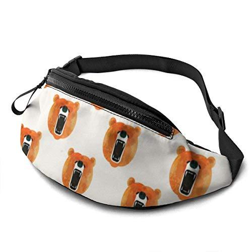PULLA Riñonera Deportivo Bolso Cintura Cinturón Ajustable Running Belt Bolsa de Correr Animal Bear Art