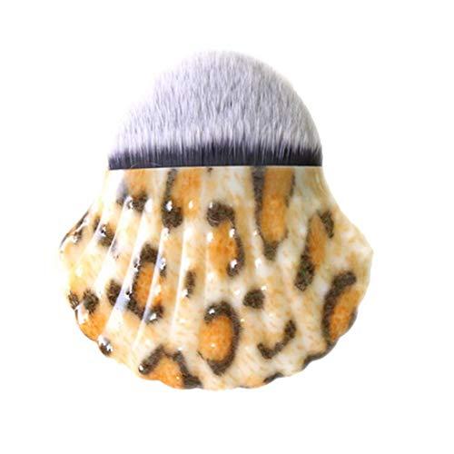 Shell forme pinceau de maquillage Fashion Style poudre pinceau blush Chic Shell Bottom Pinceau pour les femmes (imprimé léopard)