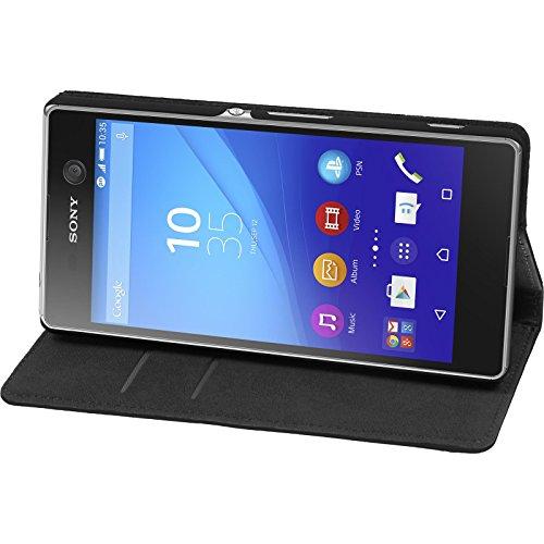PhoneNatic Kunst-Lederhülle kompatibel mit Sony Xperia M5 - Book-Hülle schwarz + 2 Schutzfolien