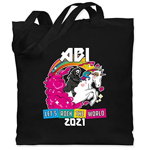 Shirtracer Abitur Abi & Abschluss 2021 Geschenke - Lets Rock the World - Abi 2021 - Unisize - Schwarz - Fun - WM101 - Stoffbeutel aus Baumwolle Jutebeutel lange Henkel
