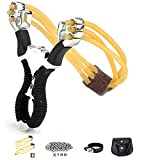 KJLMMY Slingshot,Wrist Sling Rocket Professional Hunting Slingshot with Heavy Duty Launching Bands, High Velocity Catapult (Deluxe Edition)