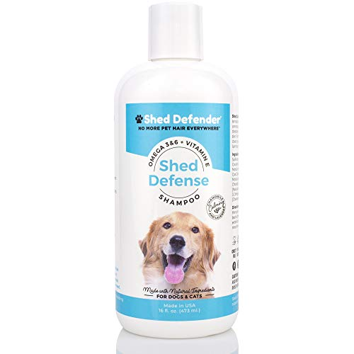 Shed Defender Shed Defense Shampoo for Dogs, Cats to Reduce Shedding, Veterinarian Recommended, Healthy Skin & Coat, Omega 3 & 6, Vitamin E, Natural Ingredients, Plant Based, Hypoallergenic, Chamomile