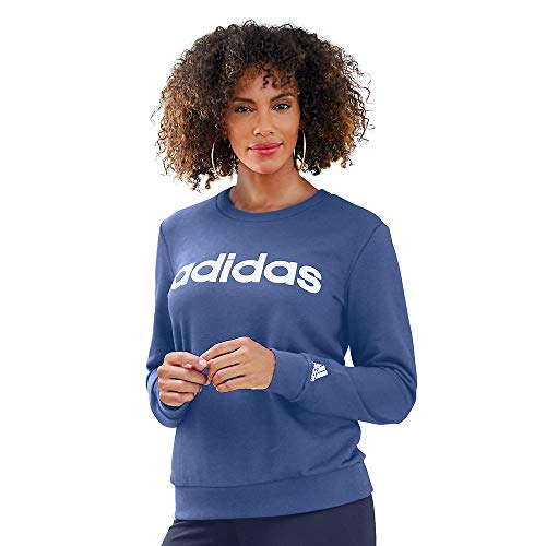 adidas womens Linear French Terry Sweatshirt Crew Blue/White X-Large