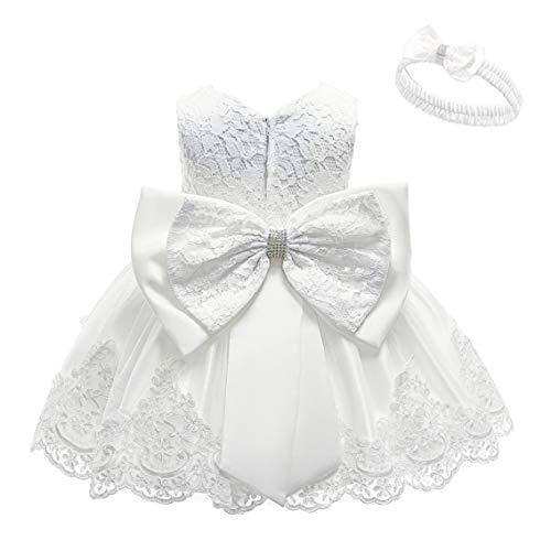 KISSOURBABY White Baptism Gowns for Baby Girls Princess Wedding Dress Baby Birthday Party Dresses for Special Occasion with Headwear(White3M)