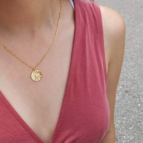 Medallion Necklace, Sun Pendant Necklace, Gold Pendant Necklace, Opal Pendant Necklace, Coin Necklace, Figaro Chain Necklace, KAYLA NECKLACE