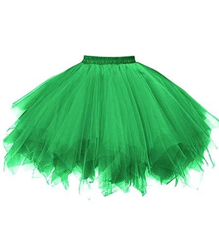 Ksnnrsng Damen Tüllrock tütü Rock 50er Rockabilly Petticoat Tutu Unterrock Kurz Ballett Tanzkleid Cosplay Ballkleid Abendkleid (Grün, M)