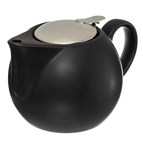 Secret de Gourmet - Théière Boule en Faïence Noire avec filtre en Inox contenance 75 cl
