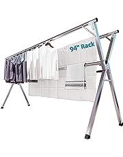 物干し 洗濯物干し 布団干し 無組立 多機能 大容量 ステンレス 伸縮タイプ 折りたためる ベランダ 幅140~240㎝ 着地x型 …