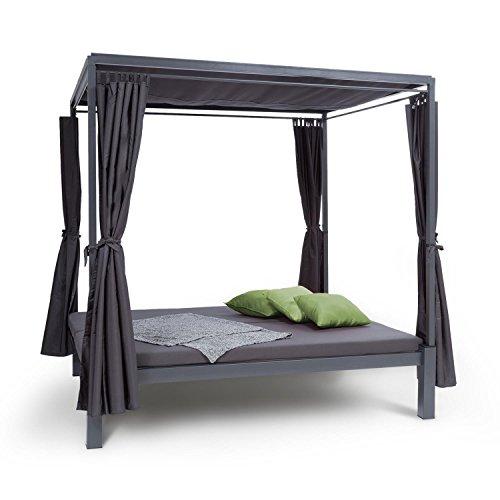 blumfeldt Senator Lounge Chaise de Jardin - Double Chaise Longue de Jardin, 188 x 208 x 205 cm, Rembourrage 8 cm, Rideaux de confidentialité, étanche, Toit ouvrant, Max. 350 kg, Gris
