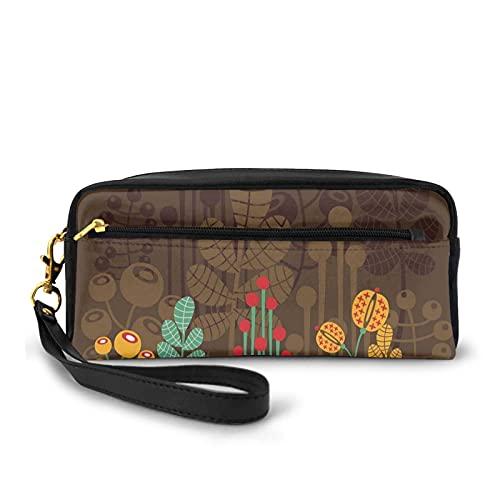 Con bolsa de lápiz con cremallera, flores de plantas lindas dentro de tazas de cerámica tema creativo Funky Artful Print,Estuche pequeño maquillaje bolsa