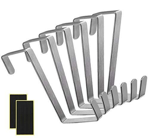 Gancio per Porta, 8 Pezzi Ganci Reversibili per Armadio a Cassetti, Appendini per Porta, Singola Appendiabiti per Porte & Armadi Adatto per Porte 3,5 cm e 4,5 cm, Fino a 8 kg
