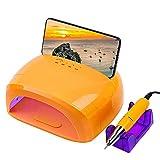 4 en 1 máquina eléctrica de arte de uñas, lámpara de uñas LED UV de 78 W 18000 rpm taladro de uñas con soporte para teléfono para uñas de gel