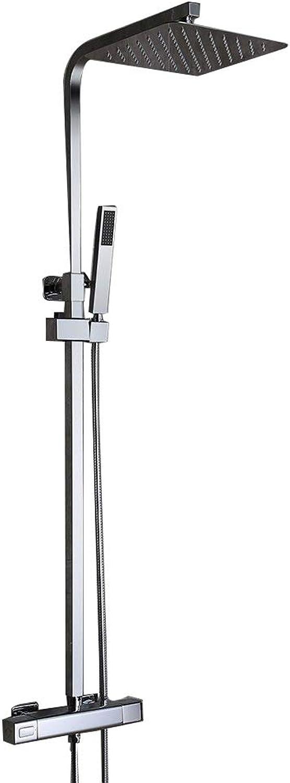 Duschsystem Mit Thermostat Duscharmatur Regendusche Eckig Duschset Inkl. überkopfbrause Handbrause Regenbrause