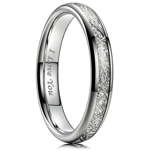 NaNa Chic Jewelry 4mm Silver Women Tungsten Carbide Ring Inner Hole Laser I Love You Inlay with Meteorite Sticker 7.5