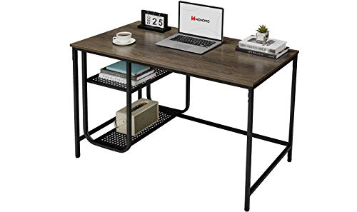 WOHOMO Computer Desk Small Desk with Storage Shelves, Modern Simple Home Office Desk 47', Easy Assembly Study Writing Desk, Walnut