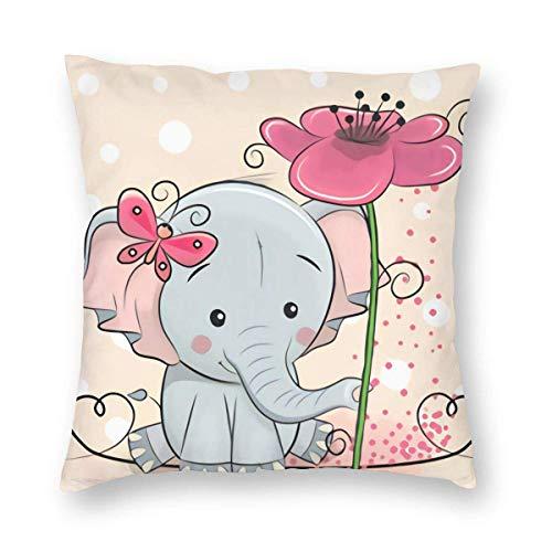 SUN DANCE Funda de cojín decorativa de elefante con dibujos animados, de terciopelo, cuadrada, para mujeres, hombres, niñas, sofá, dormitorio, sala de estar, 45,72 x 45,72 cm, gris y rosa