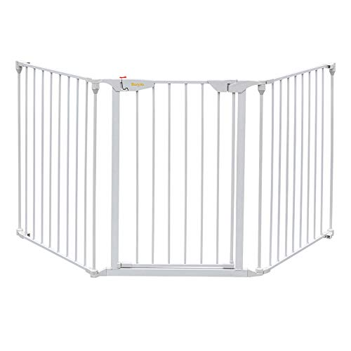 Bonnlo 73-Inch Versatile Safety Gate Metal Baby/Pet Gate Configurable Dog Barrier - Ideal for Wide Door Openings, Stairways, Doorways, Includes Wall Mounts (25.39'W x 29.3' H Each Panel, White)