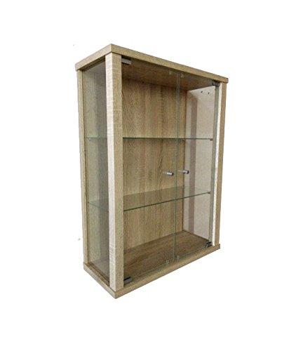 K-Möbel Glasvitrine in Sonoma Eiche (80x60x25 cm) mit 2 höhenverstellbaren Glasböden aus ESG; perfekt für Sammler;