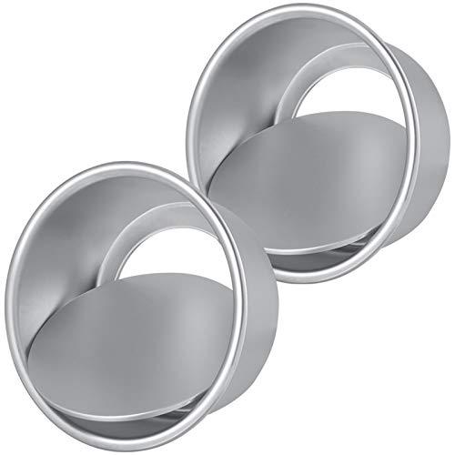 Opopark 2 Piezas Moldes Redondos de Aluminio Moldes Para Pasteles Bandeja de Horno Antiadherentes 6 pulgadas Para Boda Cumpleaños Pastel
