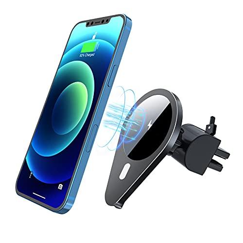 Ikeer Chargeur de voiture magnétique sans fil, support de téléphone portable sans fil, 15 W auto-serrant pour grille d'aération, pour iPhone 12/12 Pro/12 Pro Max/12 Mini