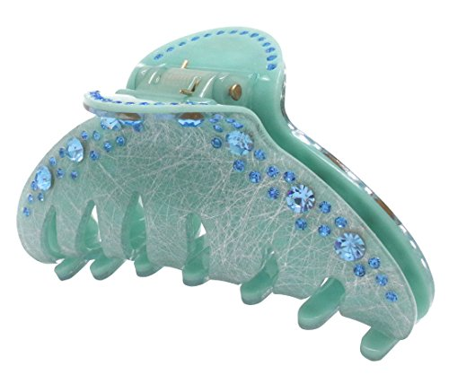 Pince à cheveux Hollihi 10,2 cm pour femme et fille - Grande pince antidérapante - Accessoires de bain pour cheveux épais - Bleu azur