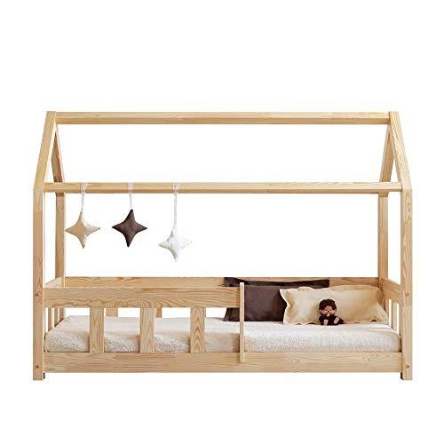Selsey Mallory - Kinderbett Hausbett mit Rausfallschutz und Kokos-Matratze 90x200 cm