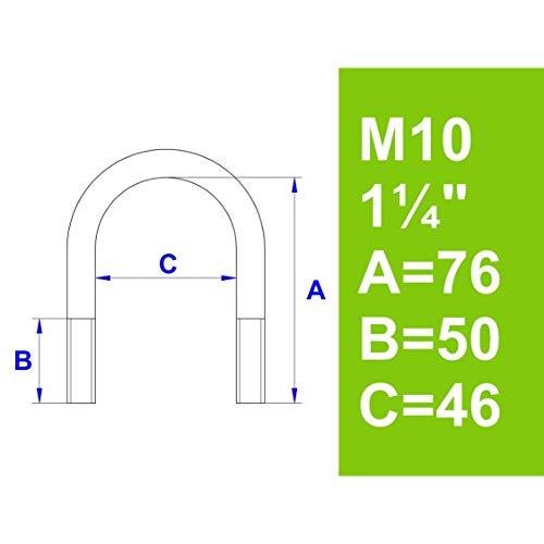 """Bügelschraube, ohne Zubehör, 1 1/4\"""" (42,4 mm) - M10"""