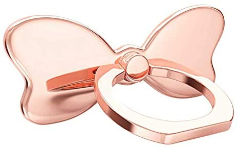 pzoz Metal Cell Phone Finger Ring Stability Holder Back Stand Collapsible Hand Grip Knob Loop Universal Car Mount Hook Kickstand 360 for iPhone Samsung Galaxy Mobile Cute Accessories (Rose Gold)