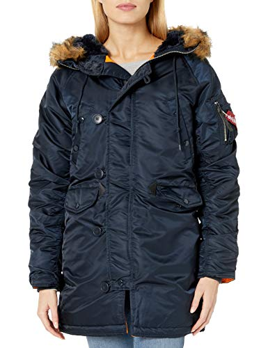 Alpha Industries N-3B Gen I Parka W Made With 100% Flight Nylon for Cold Weather for Women | Standard Fit - Thigh Length - Size Medium - Replica Blue