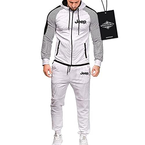 SPONYBORTY de Los Hombres Chandal Conjunto Trotar Traje je-ep Hooded Zipper Chaqueta + Pantalones Deporte Sudadera Suéter Capacitación Traje Chandal/Blanco/XXL